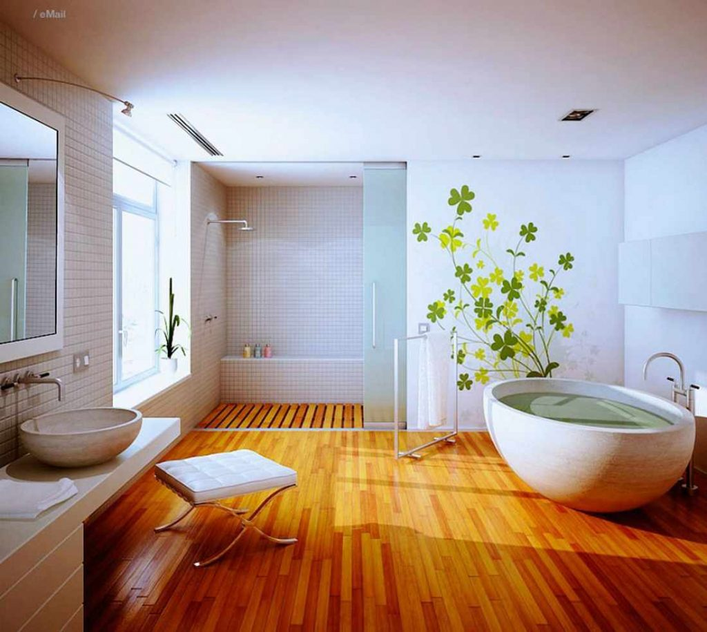 hardwood floors in bathrooms. Big Bathroom With Wooden Floor In Natural Style Hardwood Floors Bathrooms