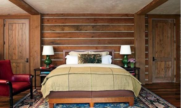 Ρουστίκ κρεβατοκάμαρες φτιαγμένες από ξύλο